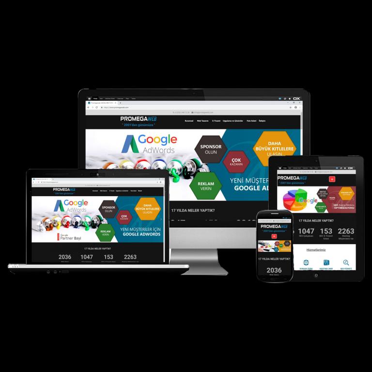 Bilgisayar notebook tablet ve akıllı telefon uyumlu izmir web sitesi tasarımı